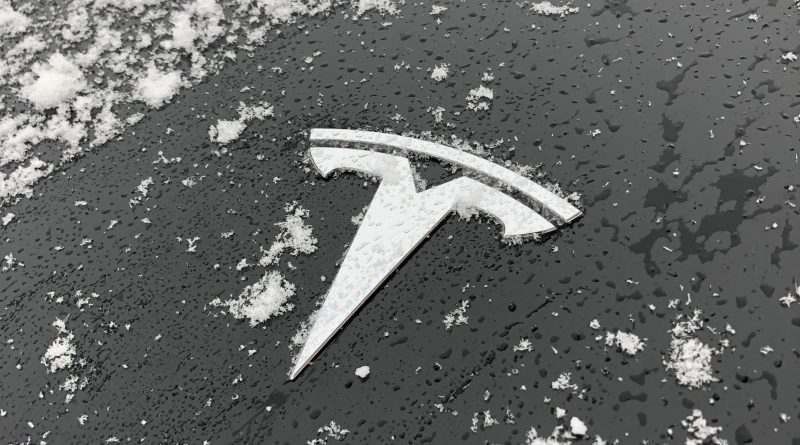 Tesla logo covered in snow
