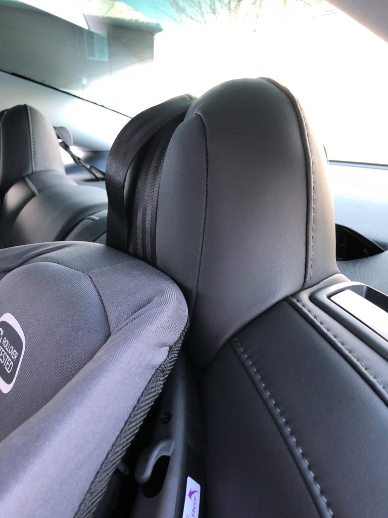 Tesla Model 3 car seats in the back