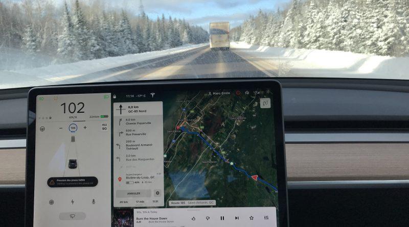 Préparer ses déplacements l'hiver en Model 3