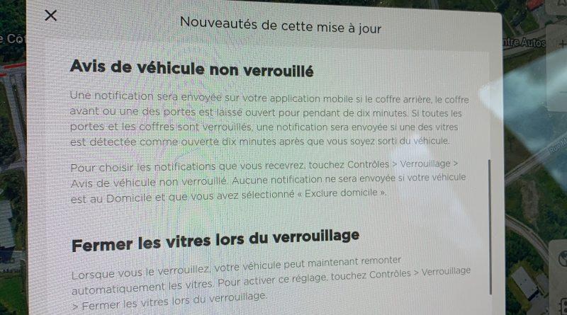 Powerwall, avis de véhicule non verrouillé et vitres qui remontent automatiquement. Mise à jour 2020.32.3 de la Model 3